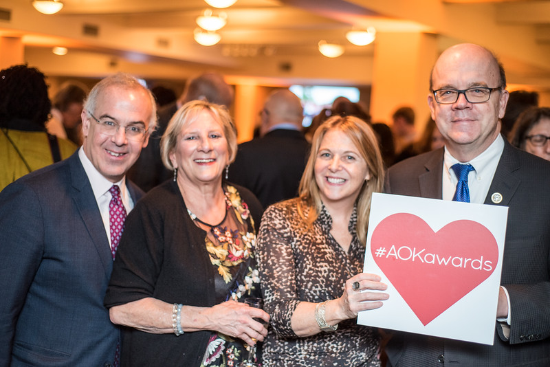 David Brooks, Sara Pratt, Kathy Fletcher, Congressman Jim McGovern, First Annual All Our Kids Awards Dinner, AOK, at Sixth & I, February 15, 2018, photo by Ben Droz.