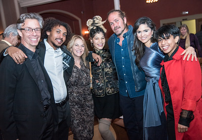 David Simpson, Kathy Fletcher, Citizen Cope, Larisa Martinez, and AOK students,  First Annual All Our Kids Awards Dinner, AOK, at Sixth & I, February 15, 2018, photo by Ben Droz.
