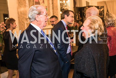 Bill McSweeney, Jacqueline Mars, Photo by Alfredo Flores. An evening with Sir Tim Rice. The British Embassy. February 13, 2018.