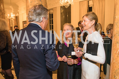 Robin West, Joanna Tobin, Eileen Shields-West. Photo by Alfredo Flores. An evening with Sir Tim Rice. The British Embassy. February 13, 2018.