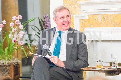 British Ambassador Kim Darroch, Photo by Alfredo Flores. An evening with Sir Tim Rice. The British Embassy. February 13, 2018.