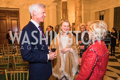 Fred Ryan, Genny Ryan, Jane Harman. Photo by Alfredo Flores. An evening with Sir Tim Rice. The British Embassy. February 13, 2018.