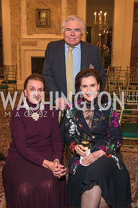 Lucky Roosevelt, Roland Flamini, Alexandra de Borchgrave. Photo by Alfredo Flores. An evening with Sir Tim Rice. The British Embassy. February 13, 2018.