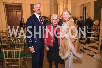 Fred Ryan, Jane Harman, Genny Ryan,  Photo by Alfredo Flores. An evening with Sir Tim Rice. The British Embassy. February 13, 2018.