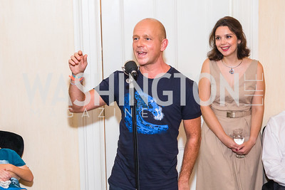 Steve Hilton, Veronika Velch, Photo by Alfredo Flores. Book Party for Steve Hilton. Juleanna Glover's residence. October 10, 2018