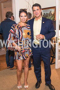 Christina Sevilla, Adam Dubitsky, Photo by Alfredo Flores. Book Party for Steve Hilton. Juleanna Glover's residence. October 10, 2018