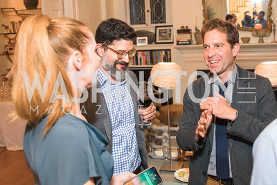 Juleanna Glover, Rob Brunner, Michael Schaffer,  Photo by Alfredo Flores. Book Party for Steve Hilton. Juleanna Glover's residence. October 10, 2018