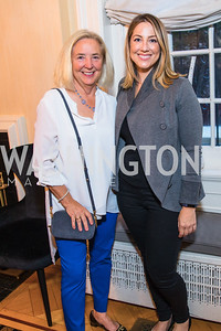 Niki Christoff, Robin Sproul , Photo by Alfredo Flores. Book Party for Steve Hilton. Juleanna Glover's residence. October 10, 2018