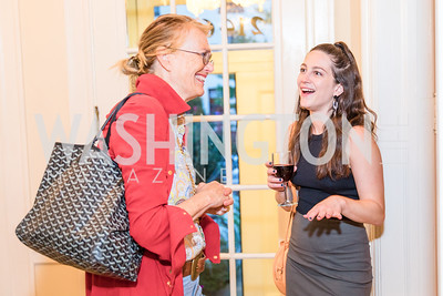 Jennifer Isham , Katherine Finnerty, Photo by Alfredo Flores. Book Party for Steve Hilton. Juleanna Glover's residence. October 10, 2018