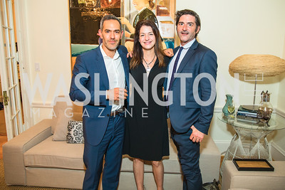 Scott Shadian , Kathleen McGowan, John Dempsey. Photo by Alfredo Flores. Book Party for Steve Hilton. Juleanna Glover's residence. October 10, 2018