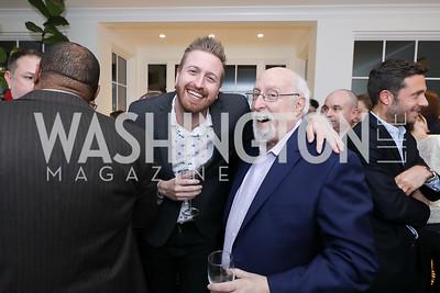 Casey Newton, Walt Mossberg. Photo by Tony Powell. Celebrating Kara Swisher. Bankoff Residence. November 19, 2018
