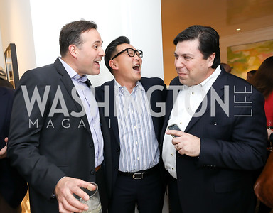 David Fauvre, Robert Kang, David Di Martino. Photo by Tony Powell. Celebrating Kara Swisher. Bankoff Residence. November 19, 2018