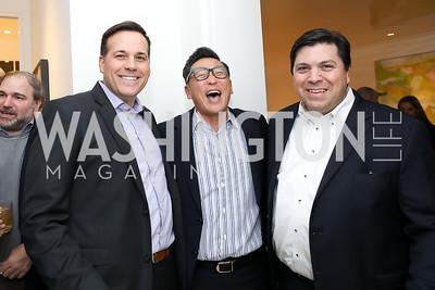 David Fauvre, Robert Kang, David Di Martino. Photo by Tony Powell. Celebrating Kara Swisher. Bankoff Residence. November 19, 2018