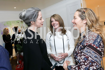 Heather Podesta, Carol Melton, Nancy Reynolds Bagley. Photo by Tony Powell. Celebrating Kara Swisher. Bankoff Residence. November 19, 2018