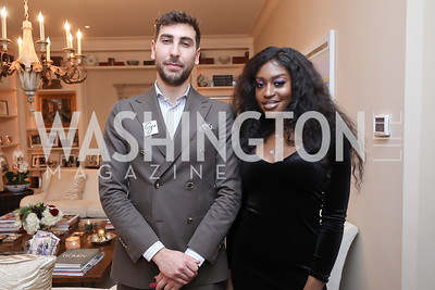 Adam Muniz, Erica Jones. Photo by Tony Powell. Celebration of Washington Power Women. Quinn Residence. December 17, 2018