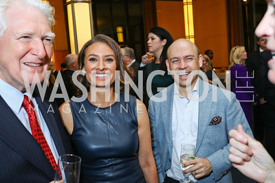 "Rep. Jim Moran, Maria Teresa Kumar, Raj Kumar. Photo by Tony Powell. Chris Matthews ""Bobby Kennedy"" Book Party. Kennedy Center. November 29, 2017"