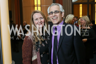 "Welmoed Laanstra and David Corn. Photo by Tony Powell. Chris Matthews ""Bobby Kennedy"" Book Party. Kennedy Center. November 29, 2017"