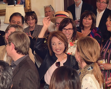 Sachiko Kuno raising hand, Cocktails at Selma Mansion, June 7, 2018, Nancy Milburn Kleck