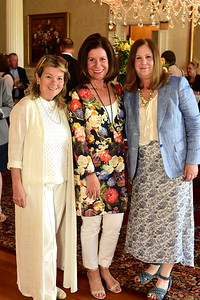 Linda Donovan, Bobbi Smith, and Susan Koch, Exec. Director of Middleburg Film Festival, Cocktails at Selma Mansion, June 7, 2018, Nancy Milburn Kleck