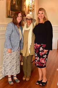 Middleburg Film Festival Exec. Director Susan Koch, Festival Founder Sheila Johnson, and Host Sharon Virts, Cocktails at Selma Mansion, June 7, 2018, Nancy Milburn Kleck