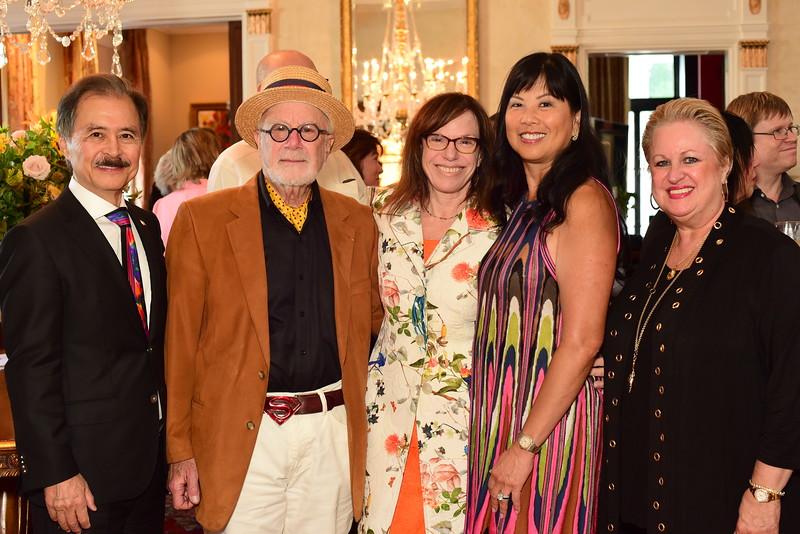 Yong Kim, David Levy, Carole Feld, Tina Mather, Maranda Kim, Cocktails at Selma Mansion, June 7, 2018, Nancy Milburn Kleck