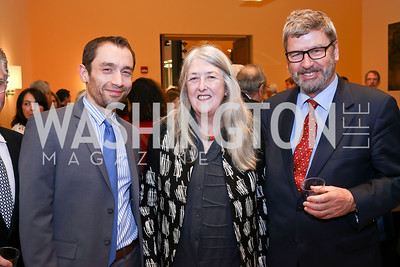 Emanuele Amendola, Mary Beard, Former AUR President Richard Hodges. Photo by Tony Powell. Conversation with Mary Beard. Italian Embassy. February 23, 2018