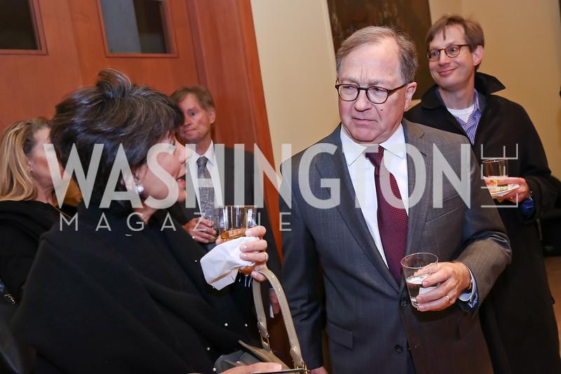 Marilia Duffles, Tom Duesterberg. Photo by Tony Powell. Conversation with Mary Beard. Italian Embassy. February 23, 2018
