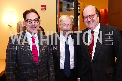 Christian Zapatka, David Brown, John Henry. Photo by Tony Powell. Conversation with Mary Beard. Italian Embassy. February 23, 2018
