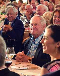 Jack Nicklaus enjoying a good laugh, Creighton Farms Invitational Dinner, June 24, 2018, Nancy Milburn Kleck