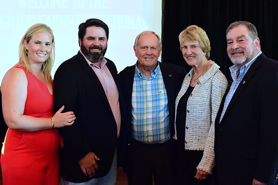Katie and Johnny Groupe, Jack and Barbara Nicklaus, and Dean More,  Creighton Farms Invitational Dinner, June 24, 2018, Nancy Milburn Kleck