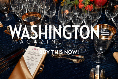 WASHINGTON, DC - FEBRUARY 9:  Wineglasses and the table setting are seen at the D'Vine Affair at the Embassy of Italy on February 9, 2018 in Washington, DC.  (Photo by Larry French/Washington Life Magazine)