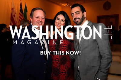 WASHINGTON, DC - FEBRUARY 9:  (L-R) Alexander Henry, Diana Sahouri and Michael Sahouri attend the D'Vine Affair at the Embassy of Italy on February 9, 2018 in Washington, DC.  (Photo by Larry French/Washington Life Magazine)