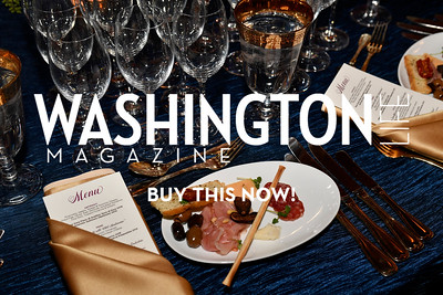 WASHINGTON, DC - FEBRUARY 9:  Wineglasses and the table setting are seen with antipasti at the D'Vine Affair at the Embassy of Italy on February 9, 2018 in Washington, DC.  (Photo by Larry French/Washington Life Magazine)