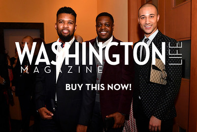 WASHINGTON, DC - FEBRUARY 9:  (L-R) Fred Nardo Davis, Duquoin Burgess and Darren Fewell/Gucci attend the D'Vine Affair at the Embassy of Italy on February 9, 2018 in Washington, DC.  (Photo by Larry French/Washington Life Magazine)