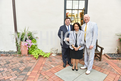 Steward McLaurin, Gail West, Knight Kiplinger, The White House Historical Association host the 200th Anniversary of the Historic Decatur House, and launch of the book, The Stephen Decatur House: A History.  August 1, 2018.  Photo by Ben Droz.