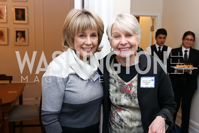 """Catherine Hand, Eleanor Clift. Photo by Tony Powell. Donna Brazile """"Hack's"""" Book Party. WNDC"""
