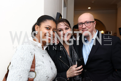 "Julie Green, Rania Batrice, Adam Parkhomenko. Photo by Tony Powell. Donna Brazile ""Hack's"" Book Party. WNDC"