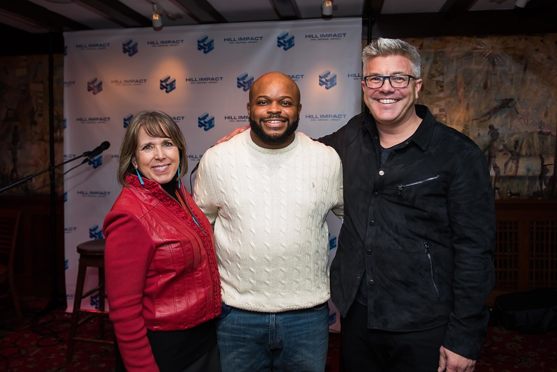 Rep. Michelle Lujan Grisham, Jimmy Dennis and Dan Hill attend the Hill Impact event at the Hamilton on January 11, 2018.  Photography by Joy Asico