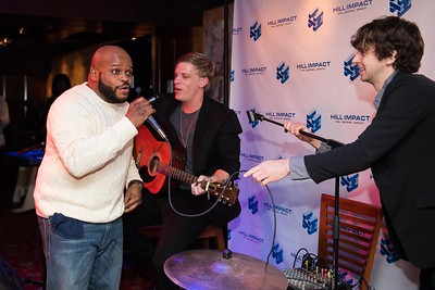 Jimmy Dennis, Jordan Davis and Tristan Martin sing Happy Birthday to Dan Hill at the Hill Impact event on January 11, 2018.  Photography by Joy Asico