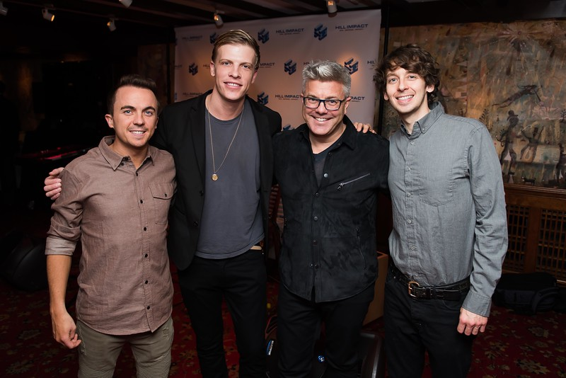 Frankie Muniz, Jordan Davis, Dan Hill and Tristan Martin attend the Hill Impact event at the Hamilton on January 11, 2018.  Photography by Joy Asico