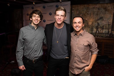Astro Lasso's Tristan Martin and Jordan Davis with their manager Frankie Muniz attend the Hill Impact event at the Hamilton on January 11, 2018.  Photography by Joy Asico