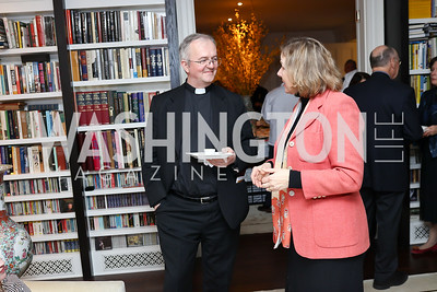 Father Tim Cole, Catherine Marquardt. Photo by Tony Powell. The Last Empresses of China Reception. Pillsbury Residence. March 7, 2018