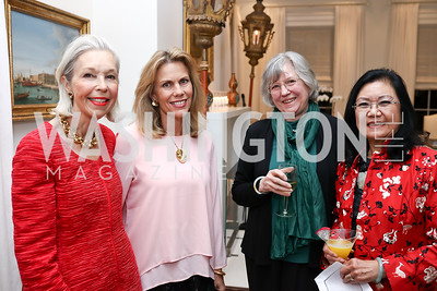 Nina Pillsbury, Fendell Pillsbury, Ann Ling, Christine Lee. Photo by Tony Powell. The Last Empresses of China Reception. Pillsbury Residence. March 7, 2018