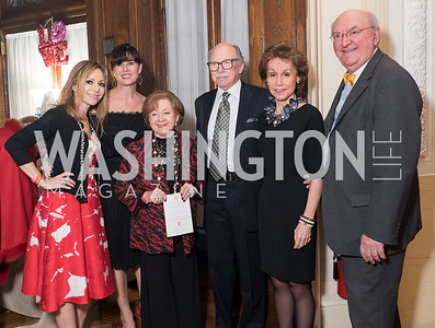 Pilar O'Leary, Michelle Freeman, Irma Frank, Ambassador Camilo Reyes, Gloria Ritter de Reyes, Richard Frank. Photo by Erin Schaff. 2018. The Latin Lovers Soiree. Ambassador of Colombia's residence. February 10, 2018.