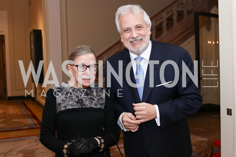 Justice Ruth Bader Ginsburg, Philippe Auguin. Photo by Tony Powell. Philippe Auguin Farewell. Residence of France. March 15, 2018