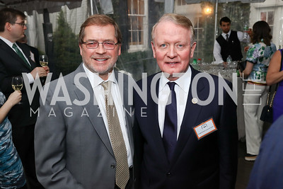 "Grover Norquist, Rep. Leonard Lance. Photo by Tony Powell. ""Microtrends Squared"" Book Party. March 20, 2018"