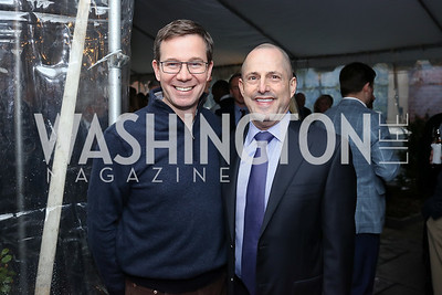 "Robert Allbritton, Michael Trager. Photo by Tony Powell. ""Microtrends Squared"" Book Party. March 20, 2018"