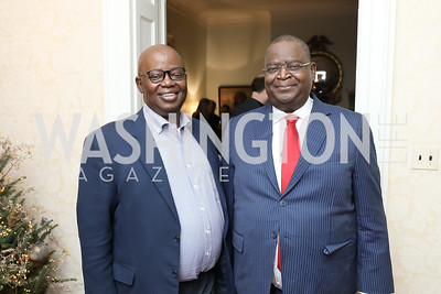 "Gabon Amb. Michael Moussa-Adamo, Congo Amb. Serge Mombouli. Photo by Tony Powell. Max Kennedy ""Sea Change"" Book Party. Nixon Residence. December 4, 2019"