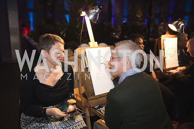 """Caricature Artist Draws Volunteer. Photo by Bruce Allen. National Portrait Gallery """"Face Forward"""" Artist Party."""
