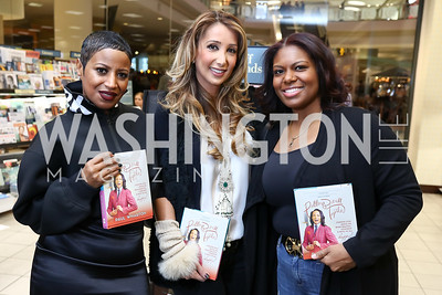 Michele Lopez, Kathy Manesh, Charlene Maxwell. Photo by Tony Powell. Paul Wharton Pulling it all Together Book Party. Tysons Barnes and Noble. January 20, 2018